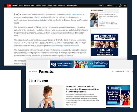 Samples of digital display ads on Cnn and Parents website