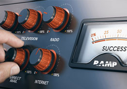 RAMP dashboard with knobs for TV, radio, Direct Mail and Internet